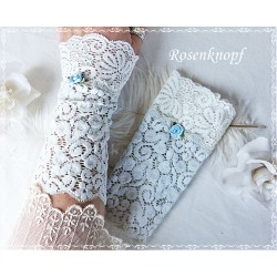 Spitzenstulpen Hellblau Weiß Braut  K