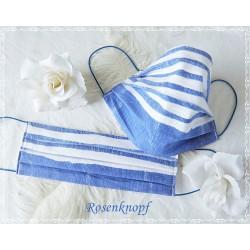Behelfsmaske Himmelblau Weiß Mundbedeckung Mundmaske Damen Herren