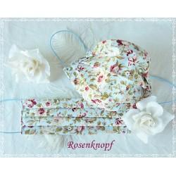 Behelfsmaske Hellblau-Rosen Mundbedeckung Mund- Nasenmaske