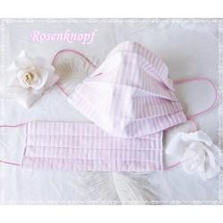 Behelfsmaske Weiß-Rosa-Streifen Mundbedeckung Mundmaske Kochfest