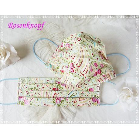 Behelfsmaske Weiß-Rosa-Rosen Mundbedeckung Mundmaske Kochfest