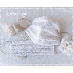 Behelfsmaske Braut Ivory Gold Weiß Mundbedeckung