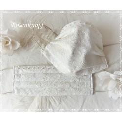 Brautmaske Ivory Spitze Perlen Mundbedeckung