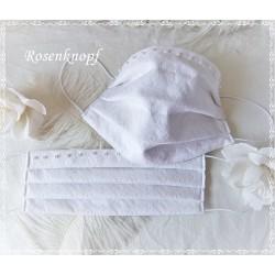 Brautmaske Weiß Spitze Perlen Mundbedeckung