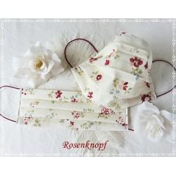 Behelfsmaske Ivory Dunkelrot Blumen Mundbedeckung Mundmaske Kochfest