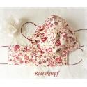 Behelfsmaske Ivory Dunkelrot Blumenwiese Mundbedeckung Mundmaske Kochfest