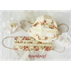 Behelfsmaske Ivory Rosenstreifen Weiß Mundbedeckung Mund- Nasenmaske