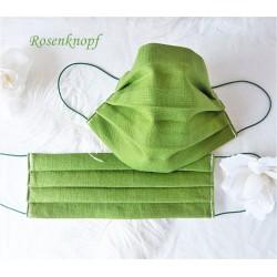 Behelfsmaske Grasgrün Weiß Mundbedeckung Mundmaske Kochfest
