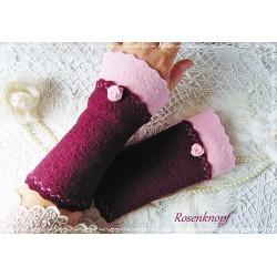 Walkstulpen Armstulpen Rosa Bordeaux