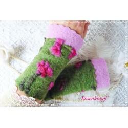 Walkstulpen FLORINE Grün Pink Armstulpen Rose Rosa
