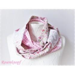 Loopschal Braut Weiß Rosa Damen Unikat E