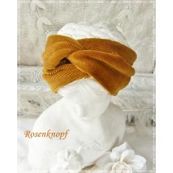 Haarband Stirnband Ocker Feincord K
