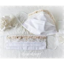 Maske Braut Weiß Ivory Spitze Mundbedeckung