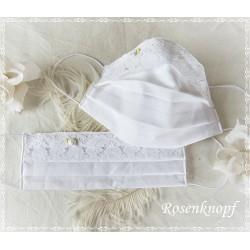 Behelfsmaske Braut Weiß Spitze Rose Mundbedeckung