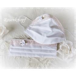 Maske Braut Weiß Spitze Blume Mundbedeckung