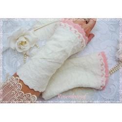 Walkstulpen Braut Ivory Rosa