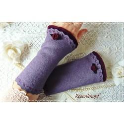 Walkstulpen LILA BOUQUET Lavendel Rose Armstulpen