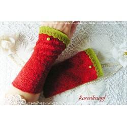 Wollstulpen JESAMINE Schwarz Rot Armstulpen Rose