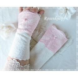 Walkstulpen Braut Ivory Rosa Damen E