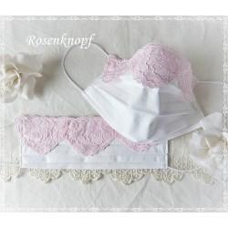Maske Braut Weiß Rosa Spitze Mundbedeckung
