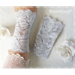Spitzenstulpen Braut Silbergrau  Extralang  E K