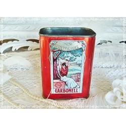 DOSE Olivenöldose Olivenöl Vintage Weißblech Shabby 1970ger Jugendstilmotiv Rot Weißblechdose Blechdose Antik E+K