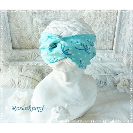 Haarband Stirnband Türkis Weiß