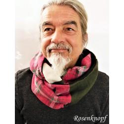 Loopschal Dunkelrot Ivory Dunkelgrün Herren Upcycling  E K