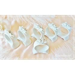 6er Set SERVIETTENRINGE mit Rosen Vintage Weiß