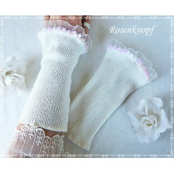 Stretchstulpen Weiß Ivory Braut Damen K