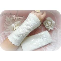 Walkstulpen Ivory Weiß Braut Damen E K