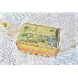 Kleine Holztruhe Schachtel Gemälde Italien Vintage