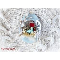 Osterfenster Henne Weiß Bunt