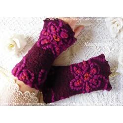 Walkstulpen BERLYNN Armstulpen Violett Bordeaux Dots