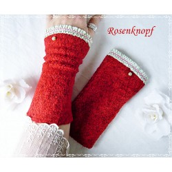 Wollstulpen Rot Hellgrün Damen Unikat