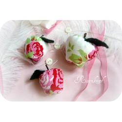 Girlande/Kette LISA-ROS Äpfel, 3er Set Weiß Rosa
