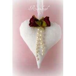 Herz MY VALENTINE Weiß Rose Leinen Perlen Spitze