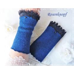 Walkstulpen Blau Dunkelblau Damen Unikat