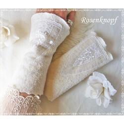 Walkstulpen Ivory Weiß Braut Damen EK