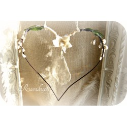 Drahtherz Blumen Kristall Schwarz Ivory