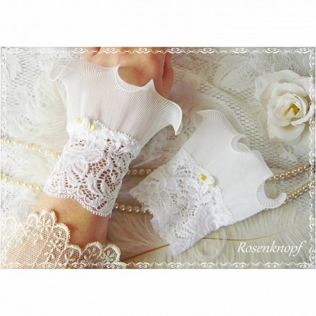 Spitzenstulpen Braut Weiß Plissée