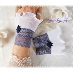 Spitzenstulpen Braut Weiß Lavendel Plissée EK