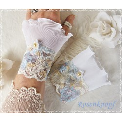 Spitzenstulpen Braut Weiß Hellblau meliert Plissée E