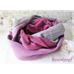 Damenloop Grau Violett Rosa Unikat K