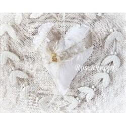 Stoffherz Weiß Ivory Shabby K