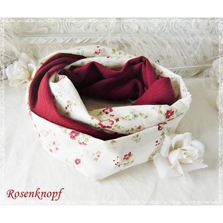 Loopschal Braut Ivory Rot Altrosa Unikat EK
