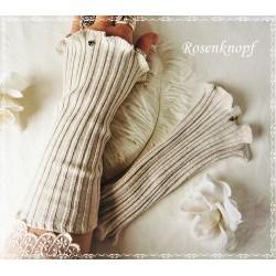 Strickstulpen Braut Beige Sandfarben Unikat K