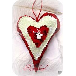 Stoff Herz ALPENGLÜCK Rot Grün