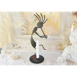 Kerzenständer Flötenspieler Metall Shabby
