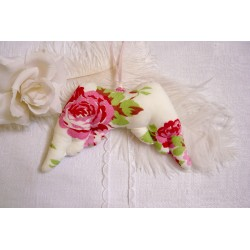 Flügel LISA-ROS Weiß Rosa Rosen Spitze Perlen